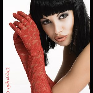 long red lace gloves