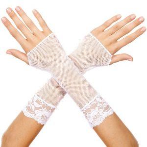 white fishnet gloves