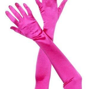 pink long length gloves